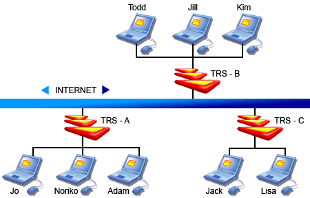 Example of a network with TRS servers in place